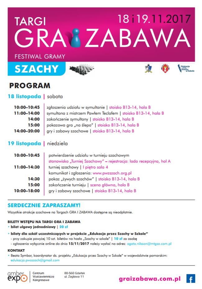 FESTIWAL GRAMY W SZACHY – Gdańsk 18 – 19.11.2017
